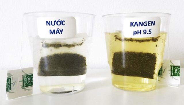 Thí nghiệm nước ion kiềm pha trà